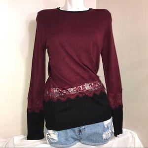 Suzy Shier Maroon Lace Waist Trim Long Sleeve Top